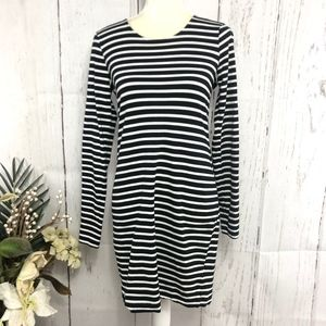 H&M BASIC LONG SLEEVE WARM STRIPED DRESS SIZE M